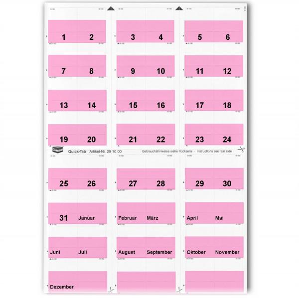 Daten-Tabs rosa 1-31/Jan.-Dez.