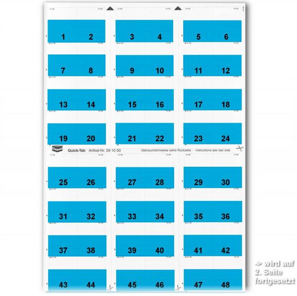Daten-Tabs blau, 1-52 (2 Bögen)