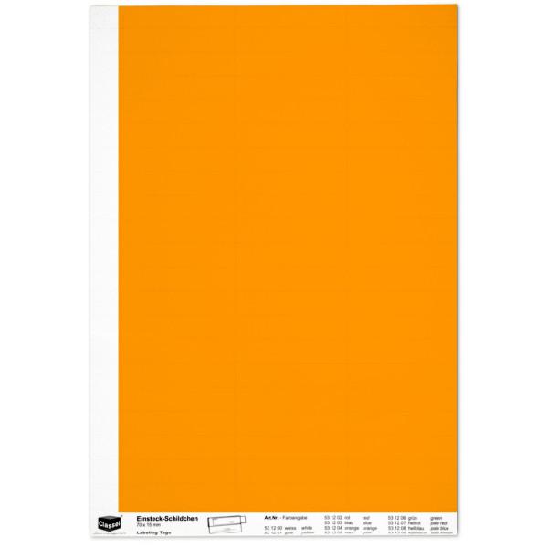 Einsteckschildchen 15 x 70 mm, orange