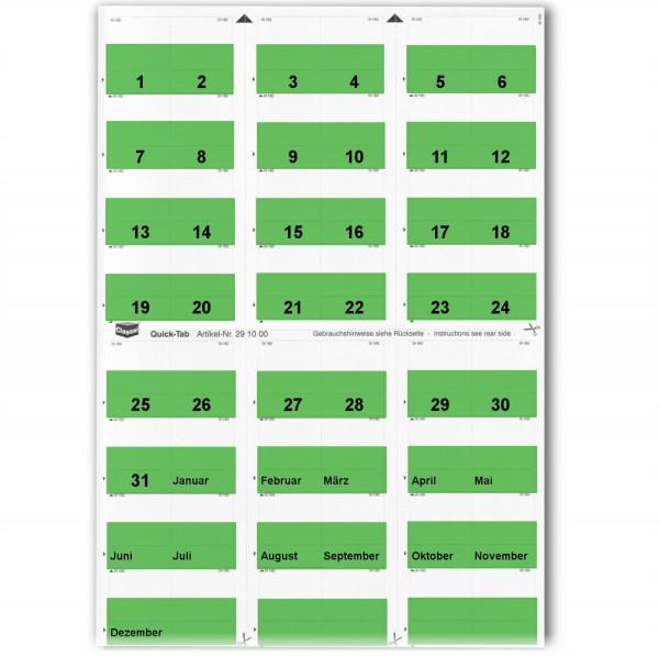 Daten-Tabs dunkelgrün 1-31/Jan.-Dez.