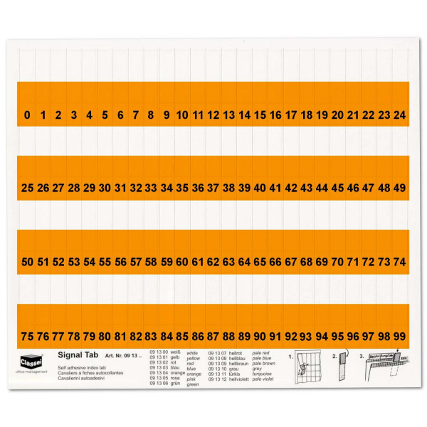 091304N Orga-Tabs 10mm orange, Nr.-Druck 1-100