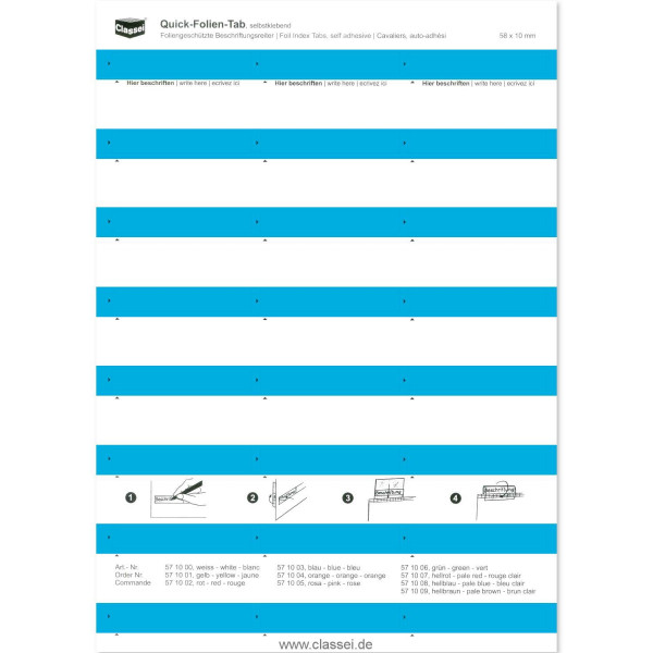Folien-Tabs blau