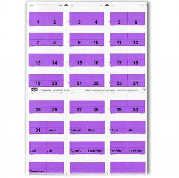 Daten-Tabs violett 1-31/Jan.-Dez.