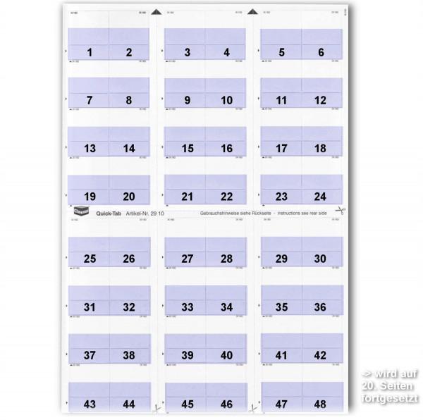 Daten-Tabs mit Nr.-Druck 1-999/Serie=21Blatt