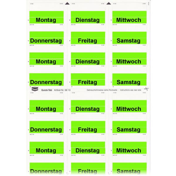 Daten-Tabs grün mit Druck Montag-Samstag
