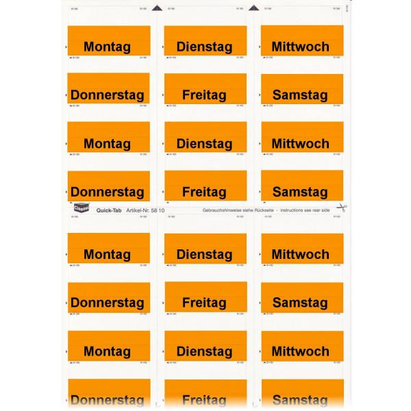 581004WT Daten-Tabs orange mit Druck Montag-Samsta