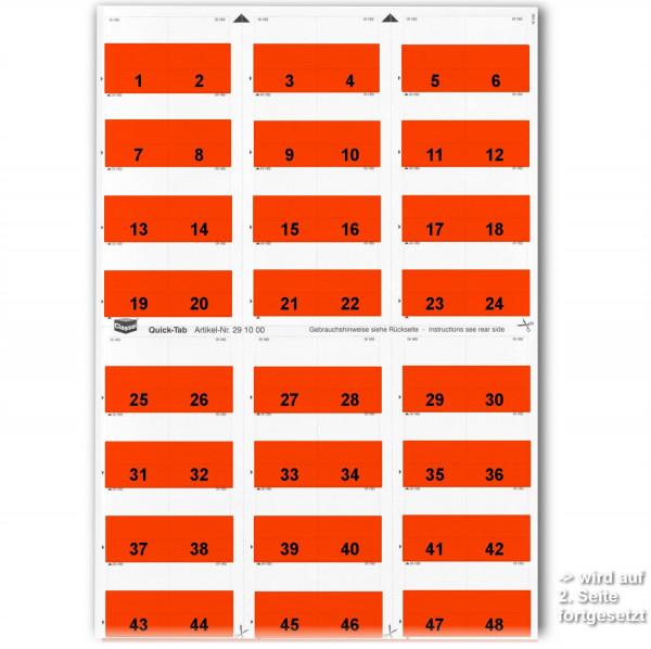 Daten-Tabs rot, 1-52 (2 Bögen)
