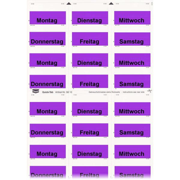 Daten-Tabs violett mit Druck Montag-Samstag