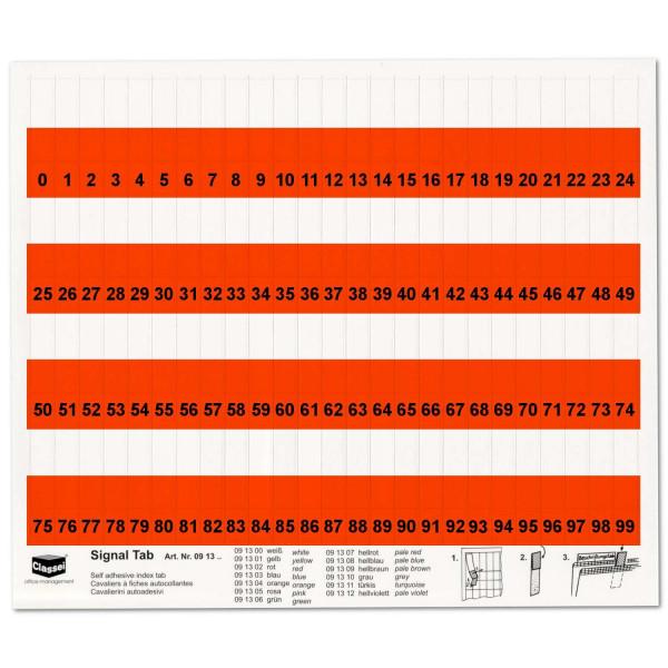 Orga-Tabs 10mm rot, Nr.-Druck 1-100