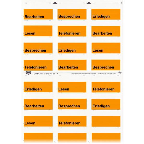 Daten-Tabs orange mit Druck Telefonieren, Bearbeit