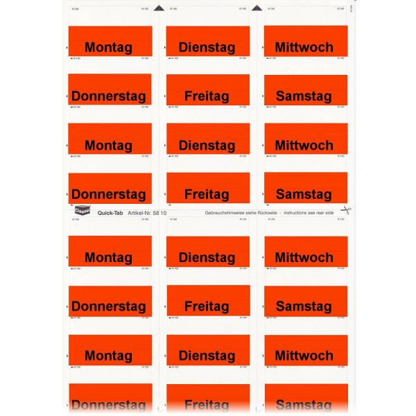 Daten-Tabs rot mit Druck Montag-Samstag